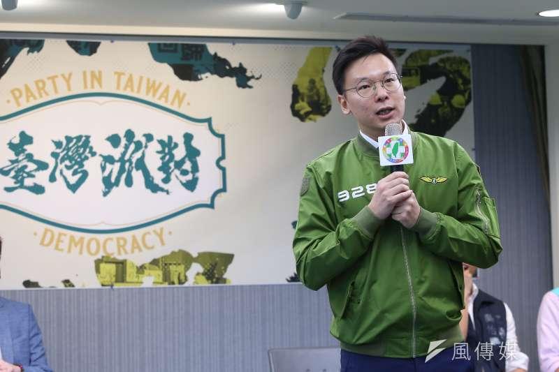民進黨副秘書長林飛帆27日出席民進黨黨慶記者會。(顏麟宇攝)
