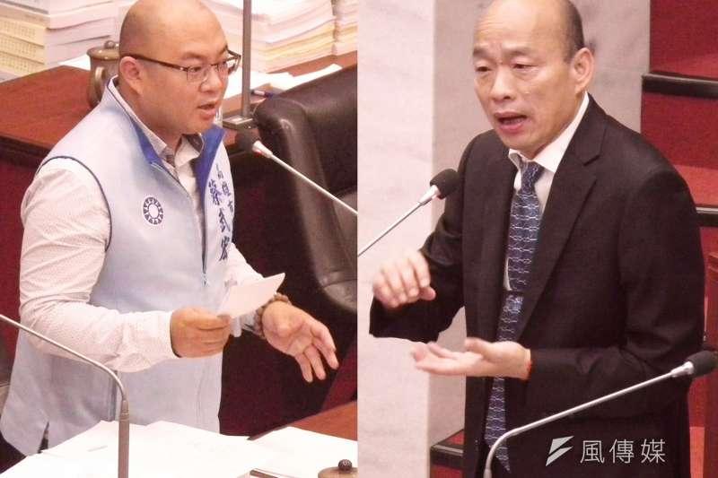 市議員蔡武宏(左)質詢市長韓國瑜。(圖/徐炳文攝)