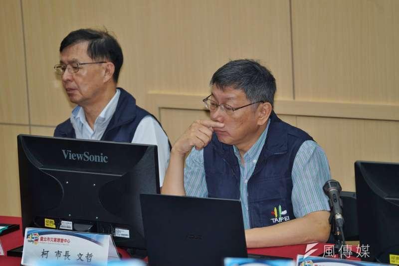 台北市長柯文哲30日赴第二災害應變中心開會。(盧逸峰攝)