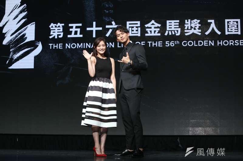 第56屆金馬獎入圍公布記者會,3位香港演員獲影帝提名。圖為金馬56揭曉嘉賓王淨(左)、吳念軒(右)。(資料照,陳品佑攝)