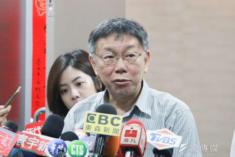 據網路媒體《放言》民調顯示,政治人物好感度由台北市長柯文哲(見圖)以54.2%贏過總統蔡英文、國民黨總統參選人韓國瑜。(方炳超攝)