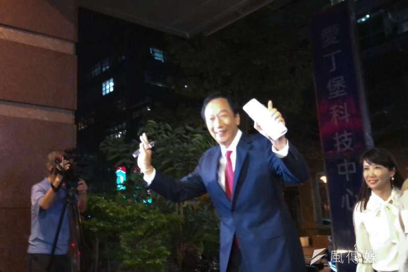 鴻海創辦人郭台銘自陳是中華民國派,2020目標是下架蔡政府。(方炳超攝)