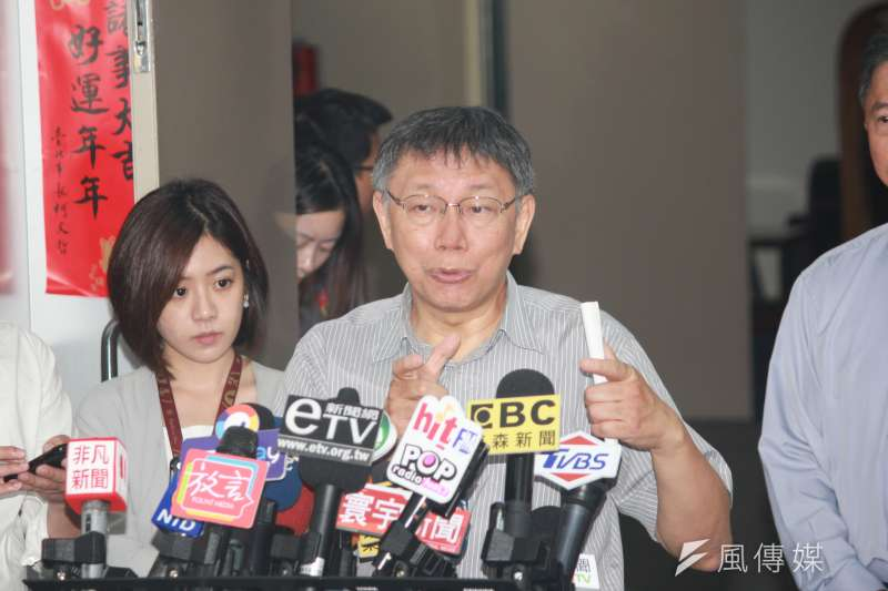 台北市長柯文哲(見圖)2日上午受訪時表示,反送中抗爭繼續下去,難免會擦槍走火。此話一出卻遭受批評。(資料照,方炳超攝)