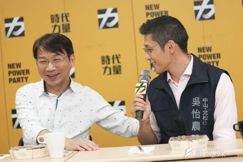 民進黨立委參選人吳怡農(右)2日拜會時代力量黨主席徐永明(左),盼尋求支持。(資料照,簡必丞攝)