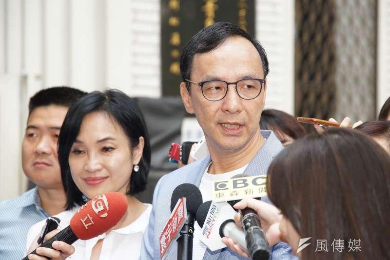 20191003-前新北市長朱立倫接受聯訪。(盧逸峰攝)