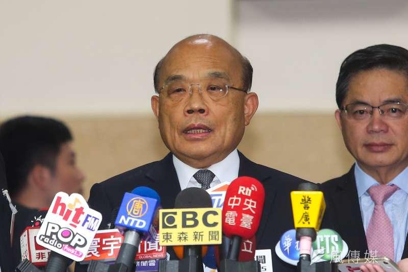 對於台北市長柯文哲抨擊總統府祕書長陳菊,行政院長蘇貞昌(見圖)4日在立法院受訪時表示,大家就算不知道過去的歷史,也要有對人的敬重。(顏麟宇攝)