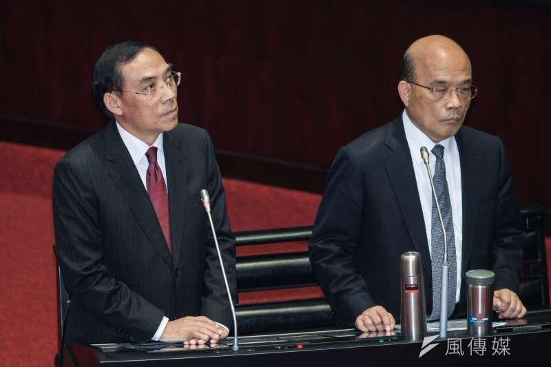 行政院長蘇貞昌(右)與法務部長蔡清祥(左)今(4)日出席立院9屆8會期備詢。(蔡親傑攝)