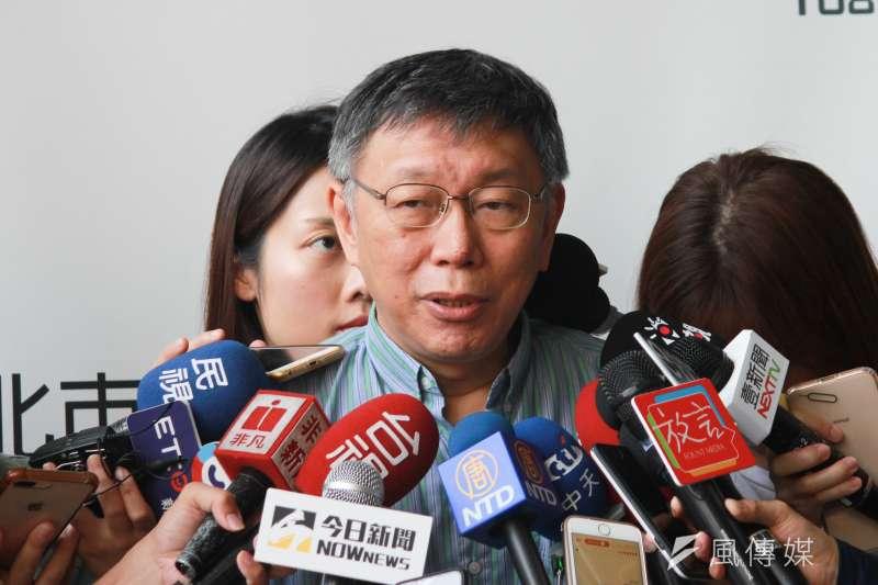 政大法律系副教授劉宏恩7日發文砲轟,台北市長柯文哲(見圖)強推的「智慧自動販賣機」進駐校園,此政策背後目的是為了蒐集學生消費的大數據。(方炳超攝)