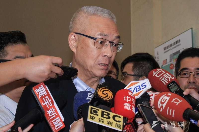 20191005-前副總統吳敦義出席馬英九基金會舉辦「台灣的國安問題研討會」,於離開前接受訪問。(蔡親傑攝)