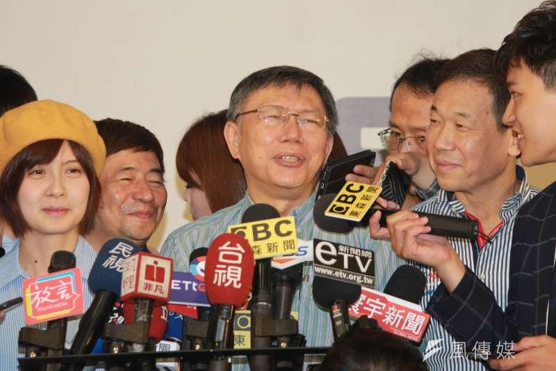 台北市長柯文哲(見圖)近來頻抨擊總統府秘書長陳菊,引發各界關注。(方炳超攝)