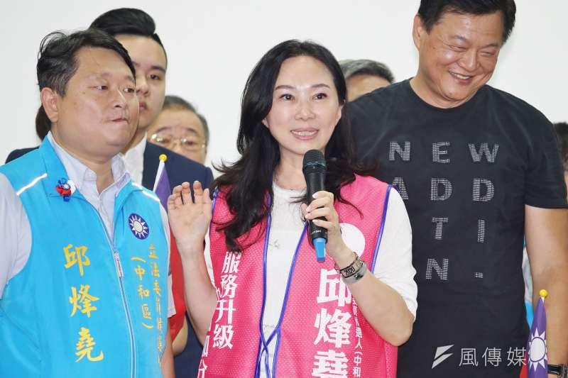 20191006-李佳芬為新北立委參選人邱烽堯輔選。(盧逸峰攝)