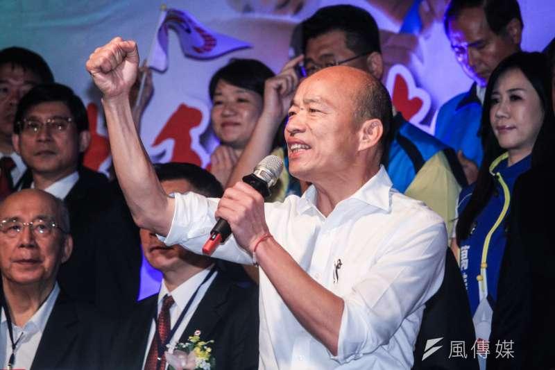 高雄市長韓國瑜從高雄出發拚大選。(蔡親傑攝)