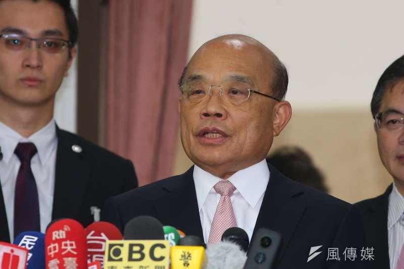 行政院長蘇貞昌8日至立法院備詢時表示,若真有日本首相賀電何其重大,此事要查處。(顏麟宇攝)