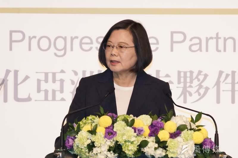 20191008-總統蔡英文出席玉山論壇開幕式。(盧逸峰攝)