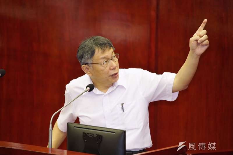 台北市長柯文哲赴市議會進行預算報告。(盧逸峰攝)
