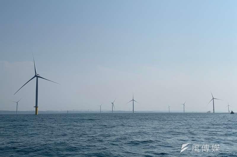 麥格理資本9日宣布,已投資示範風場海洋的日商JERA,將再投資海能風場,且持股比例達49%、成為風場單一最大投資人。圖為示範風場海洋。(尹俞歡攝)