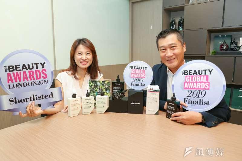 AROMASE艾瑪絲5α捷利爾頭皮淨化液是台灣雙料唯一入圍Pure Beauty Global Awards 2019「頭髮護理類新品」、「品牌創新&包裝」獎的品牌。