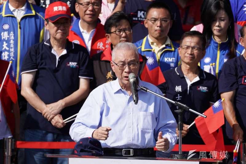 國民黨主席吳敦義出席「愛國旗、愛國家、慶雙十」活動。(盧逸峰攝)