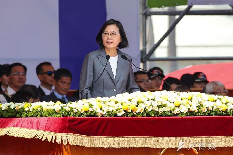 總統蔡英文10日出席中華民國108年國慶大會致詞。(顏麟宇攝)