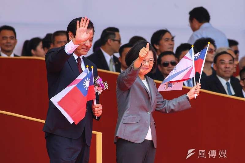 總統蔡英文出席中華民國108年國慶大會,以「中華民國台灣」描述國家。(顏麟宇攝)
