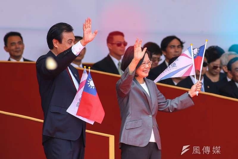 總統蔡英文10日出席中華民國108年國慶大會。(顏麟宇攝)