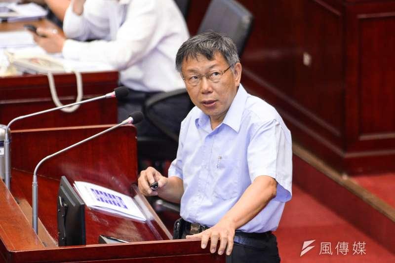 台北市長柯文哲14日出席市議會2之6會議專案報告。(蔡親傑攝)
