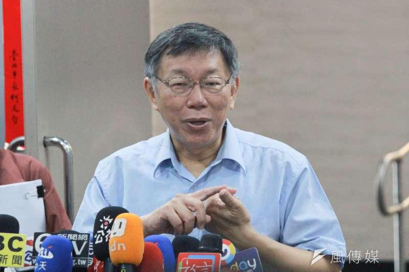 針對一席「吸安說」引發爭議,台北市長柯文哲15日表示,媒體自律要做到甚麼程度,應該可以拿出來討論。(方炳超攝)