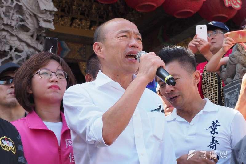 綠黨15日晚間進行民調,結果發現高達51.8%市民認為應該罷免高雄市長韓國瑜(見圖),而施政滿意度方面,也有近6成民眾表示不滿意。(資料照,林瑞慶攝)