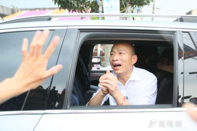 韓國瑜(如圖)民調落後蔡英文,趙少康指出,韓國瑜要繼續攻擊,開立自己的戰場,不要怕被罵。(資料照,新新聞林瑞慶攝)