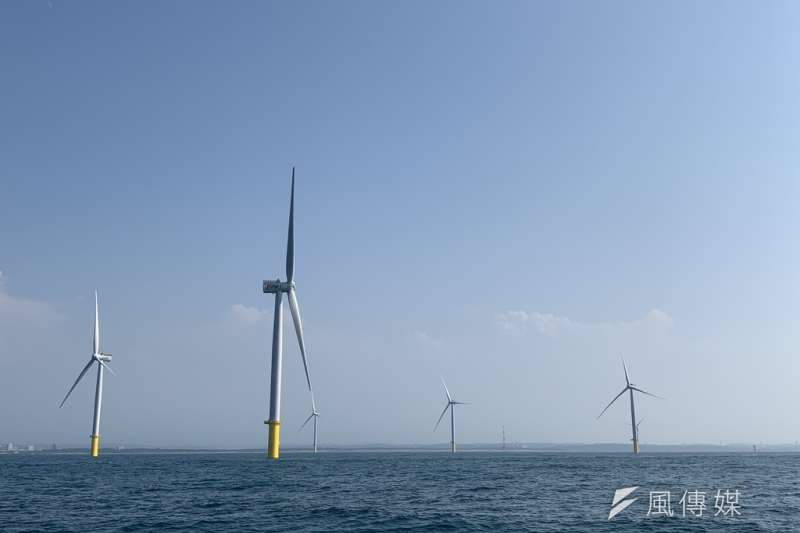 海洋(Formosa I)風場是除中國之外、亞洲第一座離岸風場,22支風機發電的電量能供應12.8萬戶家庭一整年所需。(尹俞歡攝)