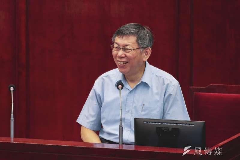 台北市長柯文哲17日至市議會進行專案報告,以及備質詢。(簡必丞攝)