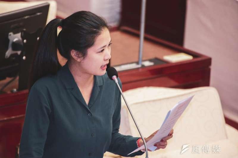 20191017-台北市議員林亮君17日至市議會進行質詢。(簡必丞攝)