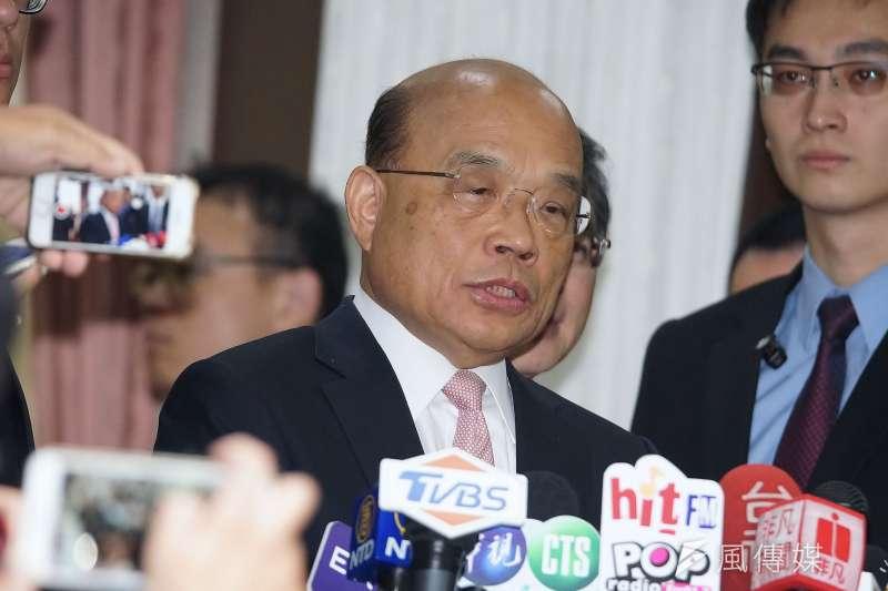 行政院長蘇貞昌(見圖)21日發文指出,香港人殺了香港人,香港政府之前不辦,突然之間說要送來台灣,「非常詭異」。(資料照,盧逸峰攝)