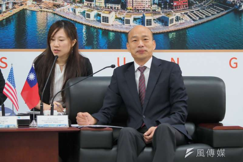 高雄市長韓國瑜17日會見美國在台協會(AIT)主席莫健,隨即公布不會訪美。(新新聞林瑞慶攝)