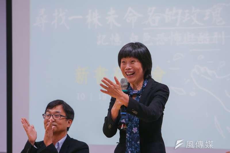 20191019-東吳大學張佛泉人權研究中心主任陳瑤華19日出席《尋找一株未命名的玫瑰-記憶、白色恐怖與酷刑》新書發表會。(顏麟宇攝)
