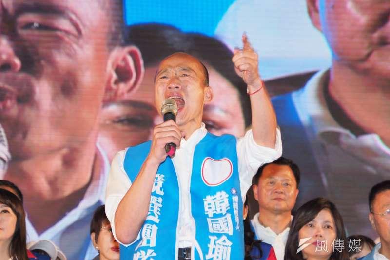 國民黨總統參選人、高雄市長韓國瑜(見圖)周末在台南、嘉義舉辦造勢晚會,吸引許多支持者歡迎,粉專「北韓-朝鮮經貿文化情報」管理員表示,造勢人群許多是鄉村的農工基層和尋常百姓。(資料照,林瑞慶攝)