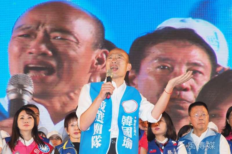 國民黨總統參選人韓國瑜(見圖)自16日請假,全力投入選戰,對此資深媒體人唐湘龍認為,韓的氣勢正在回升。(資料照,林瑞慶攝)