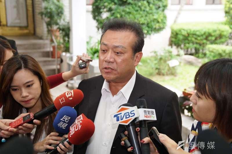 民進黨立委蘇震清21日受訪時表示,黨中央對於不分區的提名和排序有制度,相信提名委員會有智慧解決。(盧逸峰攝)