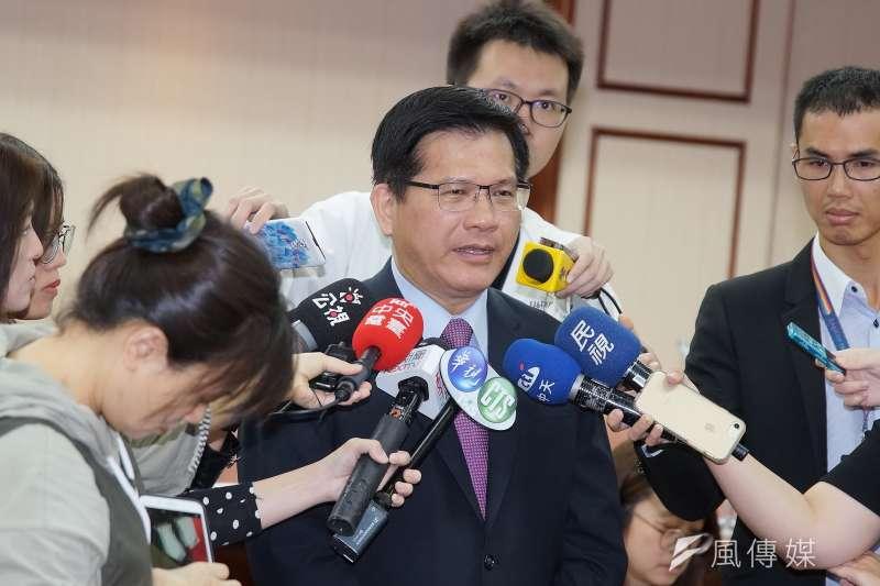針對高鐵東延至宜蘭,交通部長林佳龍於23日赴交通委員會備詢時做出說明。(盧逸峰攝)