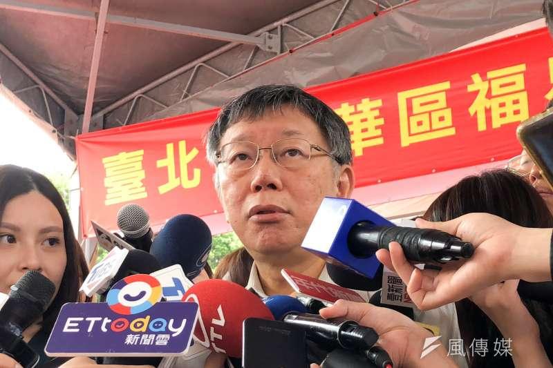 台北市長柯文哲23日上午出席福星社會住宅新建工程開工典禮,對於陳同佳投案爭議表示,這就是典型的把司法當政治工具。(方炳超攝)