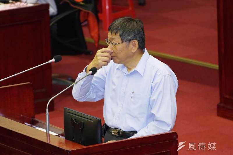 針對核心幕僚、台北市政府蔡壁如透露台北市長柯文哲(見圖)已在布局2024,對此,柯文哲出席市政總質詢時表示,還有4年,現在講這個太早了。(盧逸峰攝)