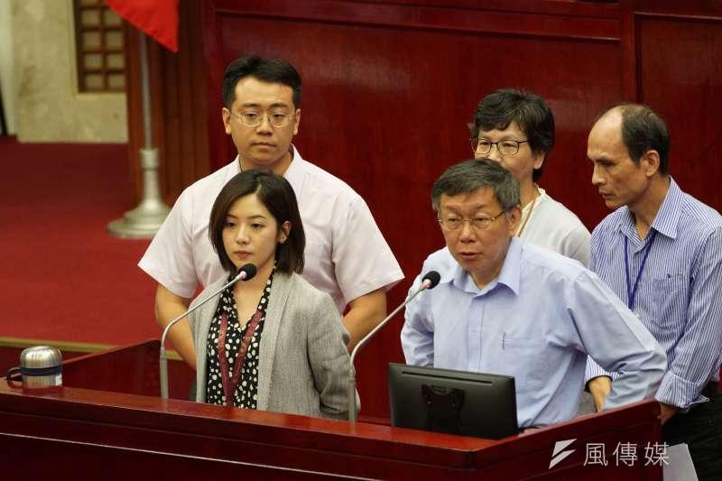20191029-台北市副發言人黃瀞瑩、市長柯文哲於29日出席市政總質詢。(盧逸峰攝)