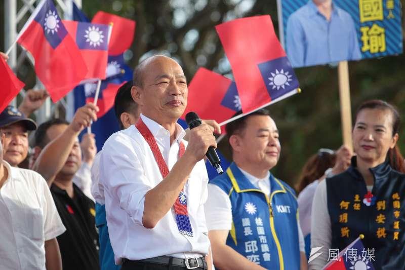 前南投縣長林源朗受訪表示,國民黨總統參選人韓國瑜(見圖)的超強戰力一定能讓民心思變,誰也壓不下去。(資料照,顏麟宇攝)