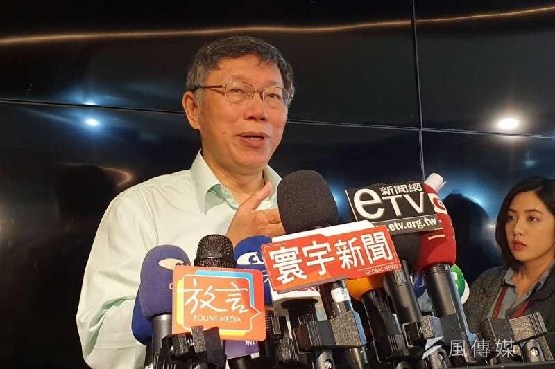 談及幕僚傳遭性騷擾,台北市長柯文哲1日上午表示,就交給SOP,照正常程序去處理。(方炳超攝)
