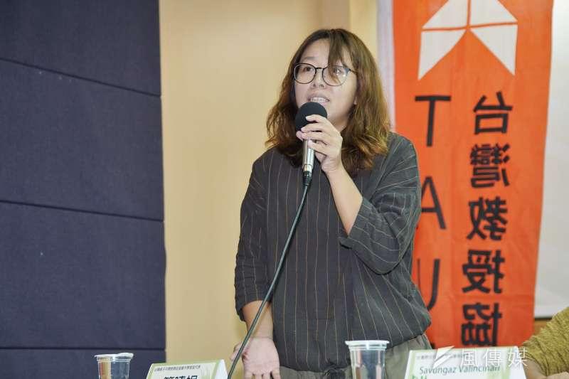 20191105-台灣教授協會於5日舉行「母語教育是人權立國的基本」記者會,親子共學教育代表簡曉娟發言。(盧逸峰攝)
