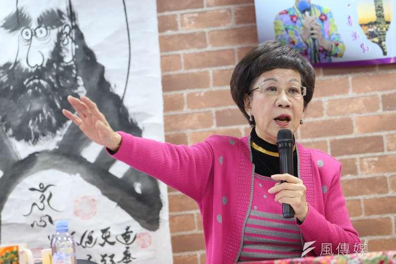 前副總統呂秀蓮5日召開「三一九 2.0版」記者會,說明於連署過程中所遭受的困難。(顏麟宇攝)