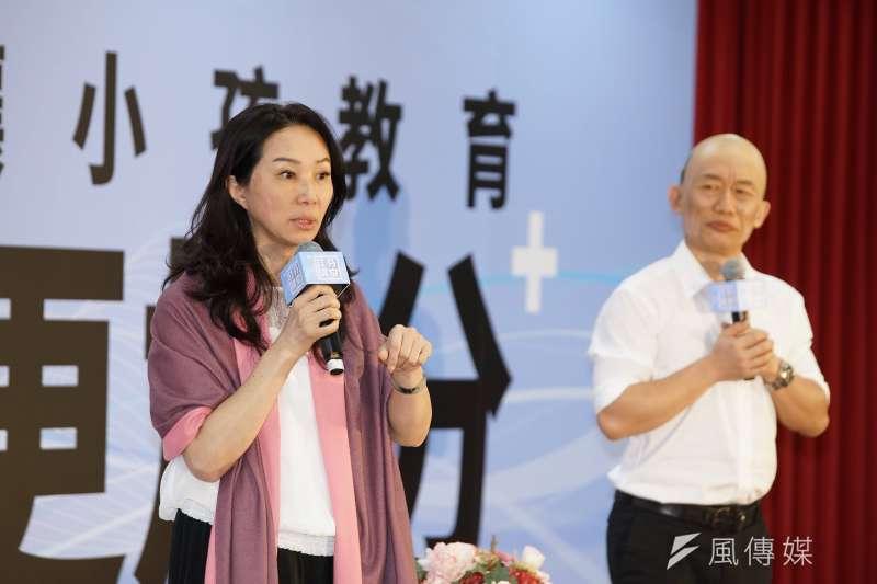 國民黨總統參選人韓國瑜夫人李佳芬(左)、藝人郭子乾(右)10日出席佳芬講堂活動。(盧逸峰攝)