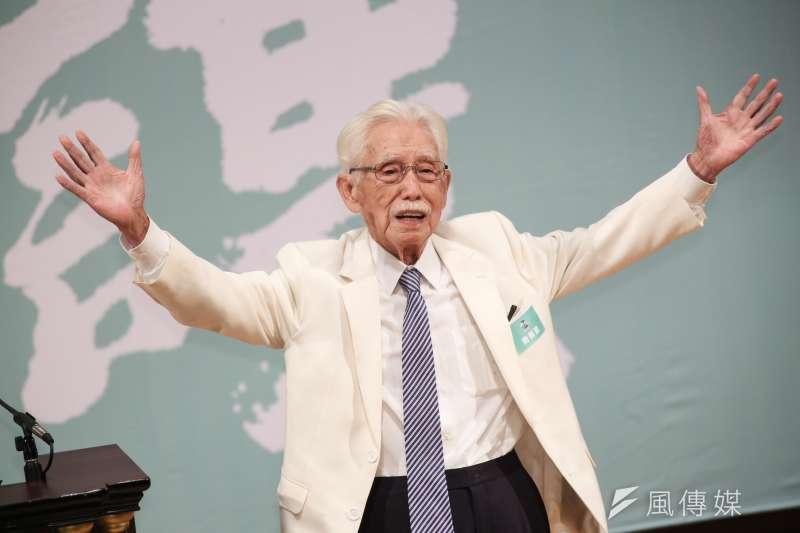 前總統府資政辜寬敏將在30日向中選會遞交制憲公投提案書。(簡必丞攝)