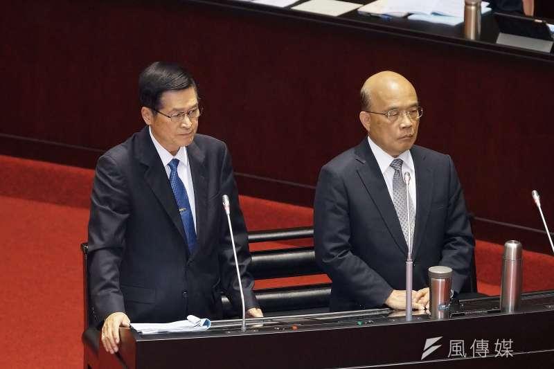 20191112-國防部長嚴德發、行政院長蘇貞昌12日出席立法院院會。(盧逸峰攝)