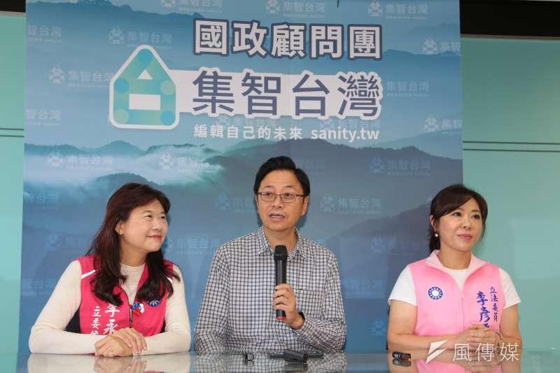 國民黨副總統參選人張善政(中)12日上午與國民黨立委參選人李永萍(左)、李彥秀(右)舉行網路直播對談。(顏麟宇攝)